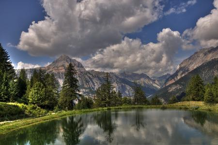 bardonecchia: Alpine landscape with lake reflection