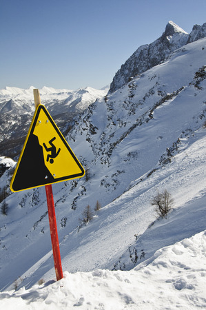 bardonecchia: Danger sign on Italian alps - Bardonecchia Italy