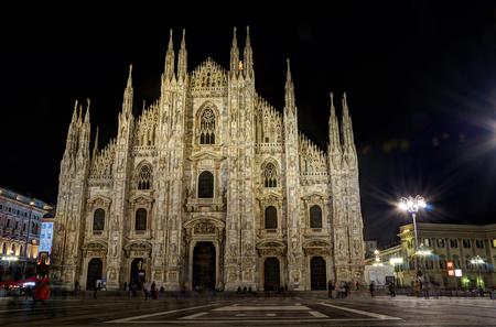 hdr: HDR Milan duomo by night Stock Photo