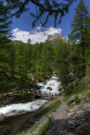 bardonecchia: Bridge on the river in italian Alps