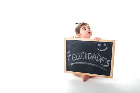 Cute baby with a chalkboard and greetings message write on stock cute baby with a chalkboard and greetings message write on stock photo picture and royalty free image image 20948455 m4hsunfo