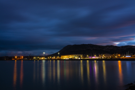 Night image of port of Denia and Montgo mountain
