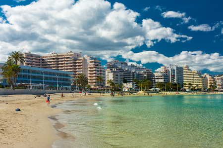 Calpe, Alicante, Spain, May 9, 2019: La Fossa beach, east of Calpe and north of the rock of Ifach, quiet beach with crystal clear waters Editorial