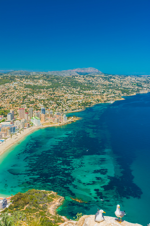 View of the area of apartments and hotels in Calpe, and some beaches from the top of the rock of Ifach