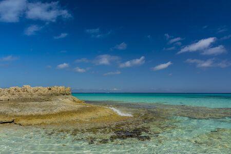 Lonely beach of Es Calo. West coast of island Stock fotó