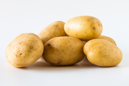 Potatos on a white background