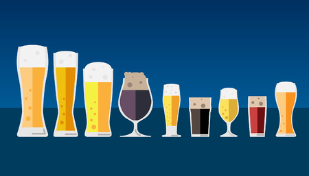 Set of cold beer icons. Vector flat illustration on blue background.