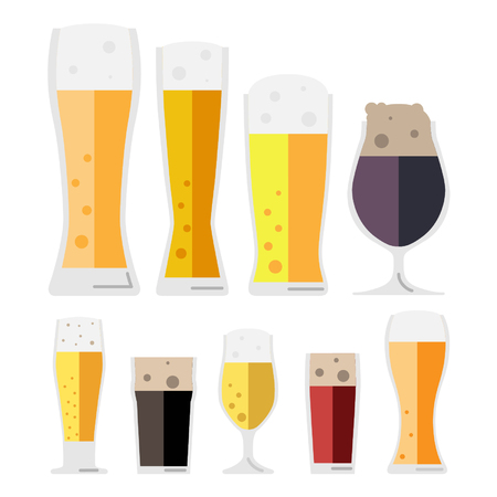 Set of beer glass vector on white background