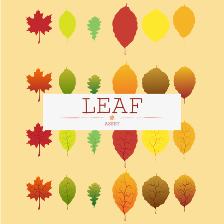 Leaf in four different moods and different colors