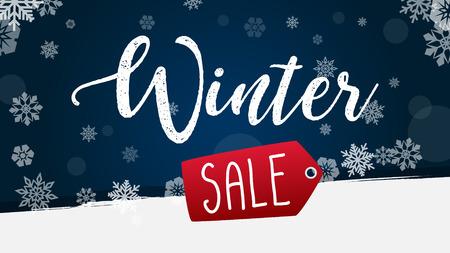 Banner di vendita in inverno con fiocco di neve illustrazione vettoriale sfondo