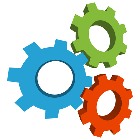 common goal: Colored three-dimensional gears icon.