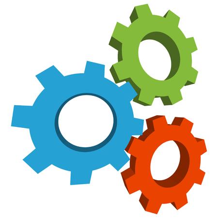 Colored three-dimensional gears icon.