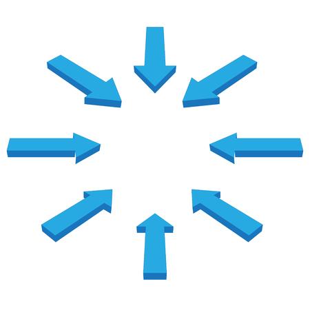 탐색하거나 방향을 파란색으로 설정하는 화살표 세트 일러스트
