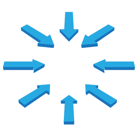 Set of arrows to navigate or set directions blue color