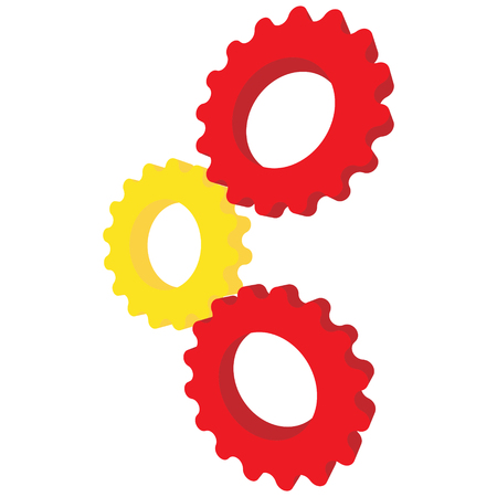 Yellow and red gear illustration. Illustration
