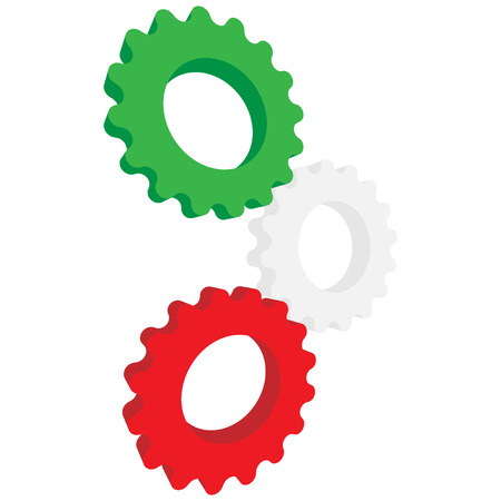 Green, white and red gear illustration. Illustration