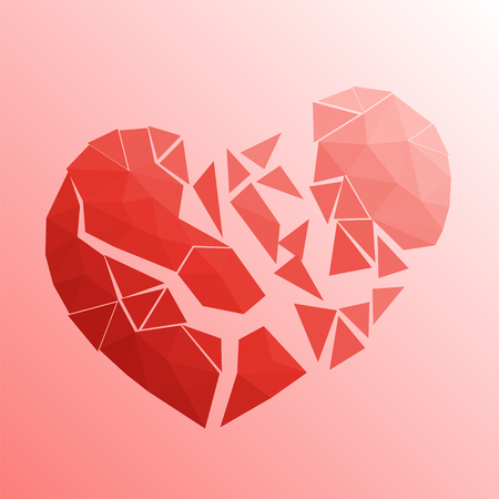 Broken heart in lowpoly style on bright background Illustration