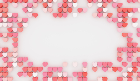 Blank love wall with red heart, pink and white heart and empty space. 3D rendering.
