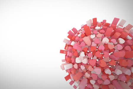 3D sphere composed from red, pink anche white hear with space for wwhite messages. 3D rendering. Stock Photo