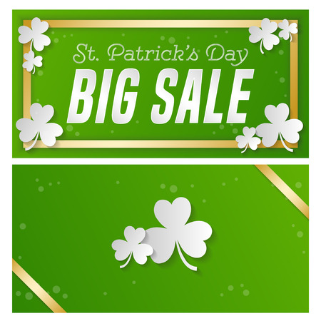 St. Patrick s Day sale banner. Composition with clover, gold strips and briight point. Vector illustration. Illustration