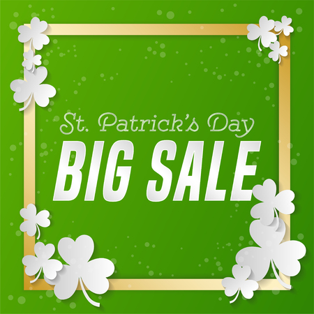St. Patrick s Day square sale banner. Composition with clover, gold strips and bright point. Vector illustration.