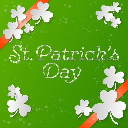 St. Patrick s Day square banner. Composition with clover, orange strips and bright point. Vector illustration.