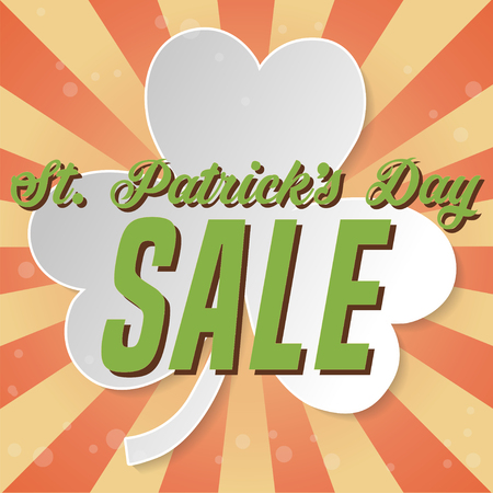 St. Patrick s Day sale banner. Composition with clover and ray from center. Vector illustration.
