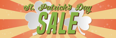 St. Patrick s Day sale horizontal banner. Composition with clover and ray from center. Vector illustration. Illustration
