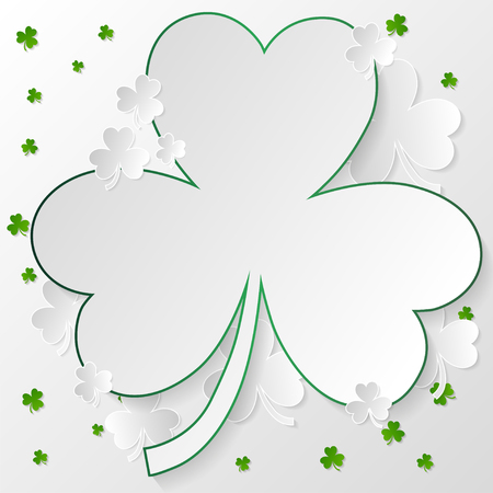White and green clover in paper art style on light gray background with green stroke. Vector illustration.