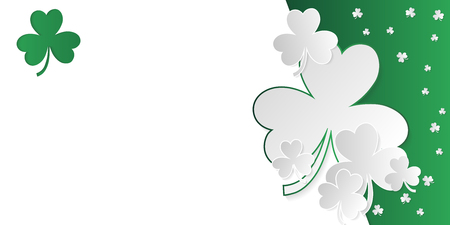 Irish clover web banner with white and green clover and copy space in paper art style. Vector illustration.