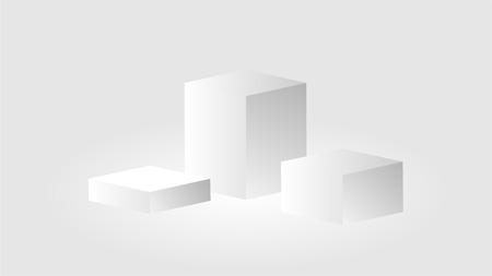 White cube podium tribune stand isolated on white background. Vector illustration.