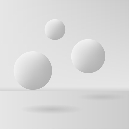 Grey sphere background on grey background. Blank abstract. Vector illustration. Çizim