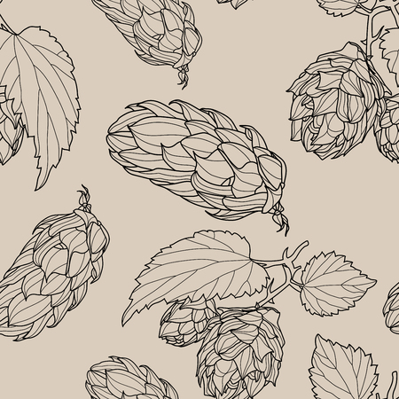 Hand drawn Hops Seamless pattern. Common hop or Humulus lupulus branch with leaves and cones. Vector Illustration. Standard-Bild - 120535114