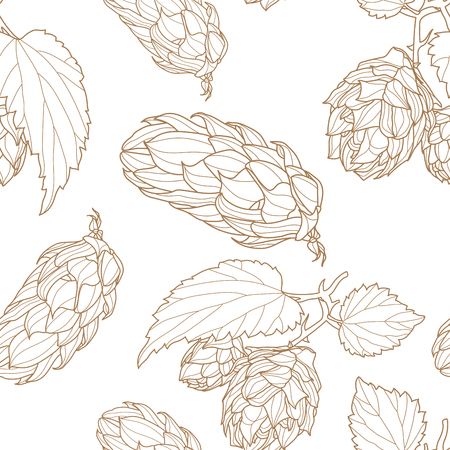 Hand drawn Hops Seamless pattern. Common hop or Humulus lupulus branch with leaves and cones. Vector Illustration.