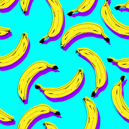 Seamless pop art yellow banana pattern randomly distributed on blue background. Vector Illustration. 矢量图像