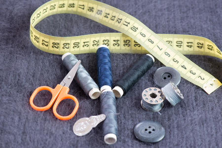 Yarn Sewing for Tailoring work Stock Photo