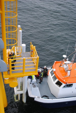 業界の洋上風力発電ファーム 写真素材