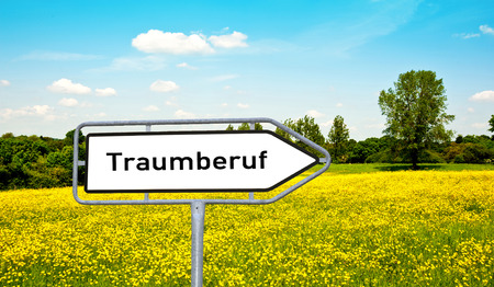 dream Job word sign in german