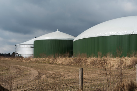 an agricultural district: Biogas plant Stock Photo