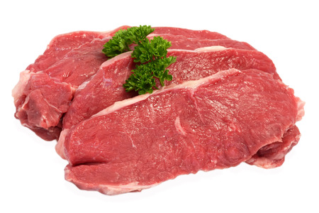 meat dish: Rump steaks as cutout Stock Photo