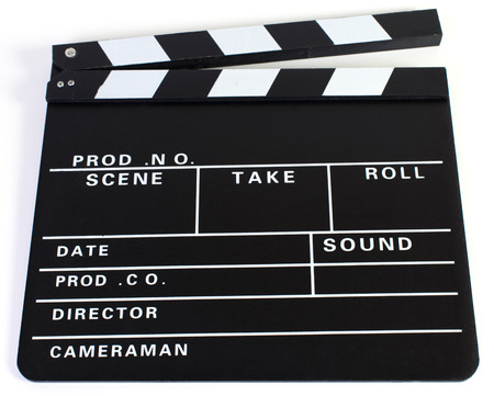 Clapperboard as Cut on White Background photo