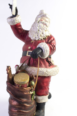 free dish: Santa Claus as a free dish on white background Stock Photo