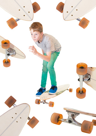 longboard: Child on his Skateboard Longboard Stock Photo