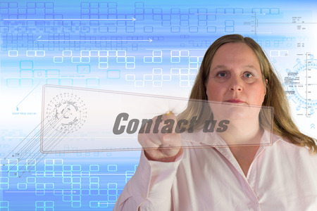contact us sign: Woman with  contact us  sign Stock Photo