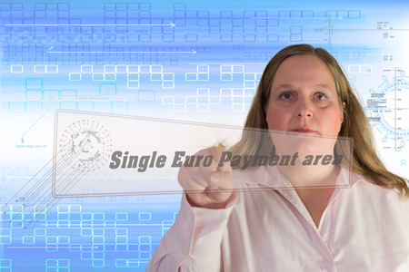 euro area:  Woman with  Single Euro Payment area sign