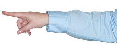 dedo indice: Mujer apuntando con el dedo ?ice