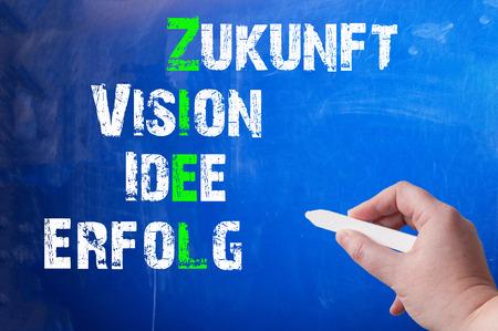 Tableau avec un concept pour cibles, la vision, les idées et le succès Banque d'images - 38794110