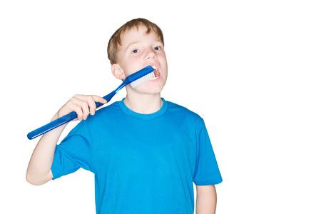 dental calculus: Child brushing teeth