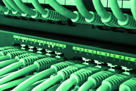 the patch: Network LAN patch panel