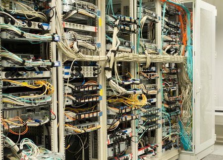 patch panel: Server rack in data center